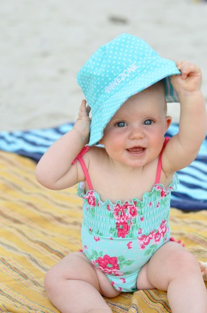 kiki at beach 8 months