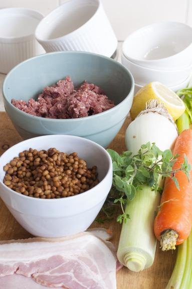 Beef and lentil pie ingredients