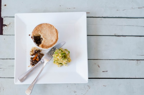 beef and lentil pie with parmesan pastry