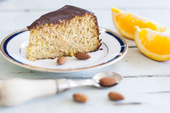 Gluten free orange cake with sugar free ganache