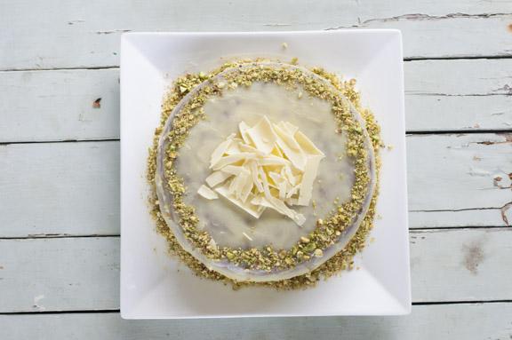 pistachio and rosewater cake with white chocolate ganache