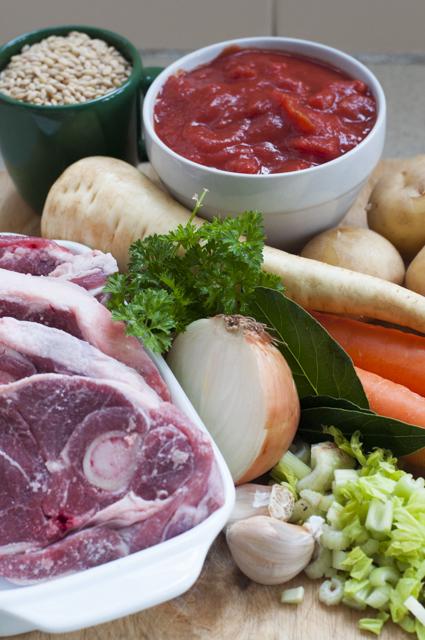 Lamb and barley soup ingredients