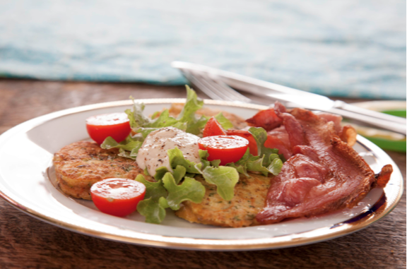 Brunch Pikelets with Goats Cheese and Bacon
