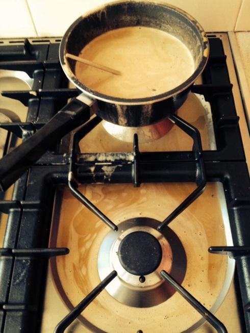 ice cream custard all ver the stove