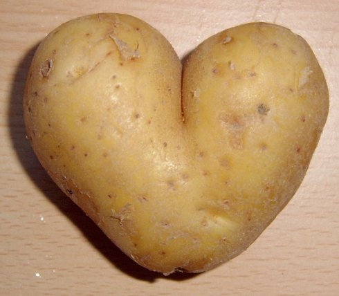 Actual heart shaped potato. May be the only love that goes into this meal.